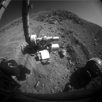 On peut voir la trace du dérapage du rover