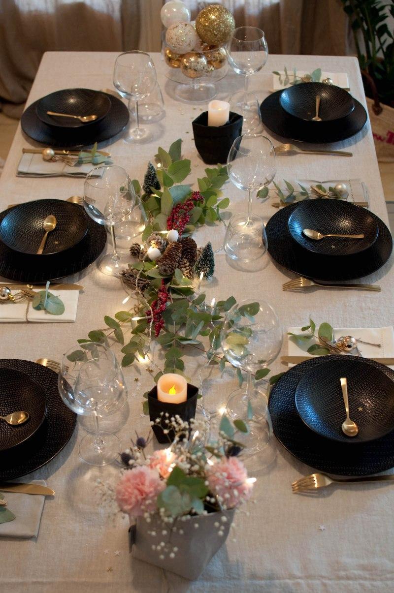 Ma table de Noël glamour et végétale.