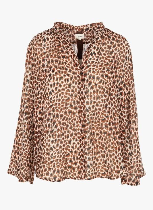 Chemise en soie leopard