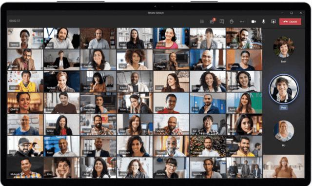 Microsoft Teams jusqu'à 49 participants affichés