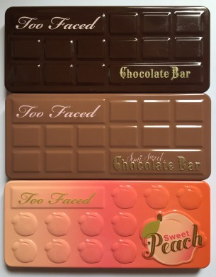 Palettes Too Faced : Chocolate bar VS Semi-sweet chocolate bar VS Sweet Peach