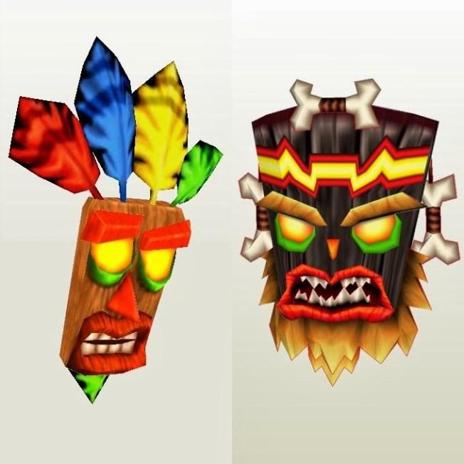 Aku-Aku et Uka-Uka, les masques magiques de la série de jeux vidéo Crash Bandicoot.