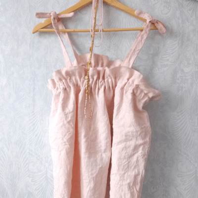 NATURAL FABRIC DYE WITH AVOCADOS – Blush Pink Linen Top
