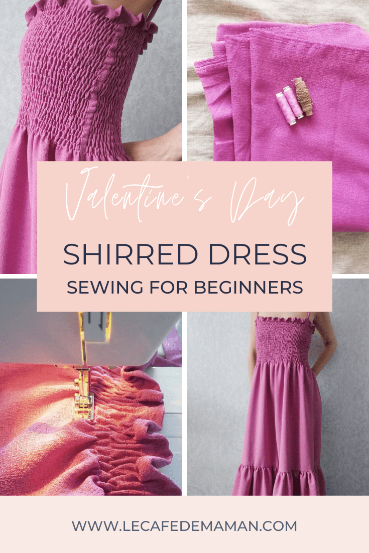 Sewing Valentine's Day shirred dress