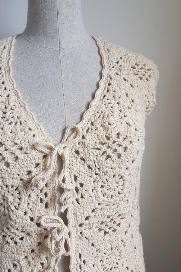 crochet handmade cotton waistcoat