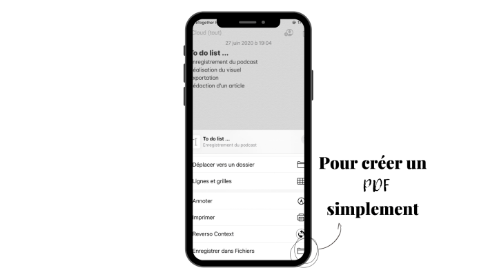 Créer un PDF simplement sur l'application Notes de Apple