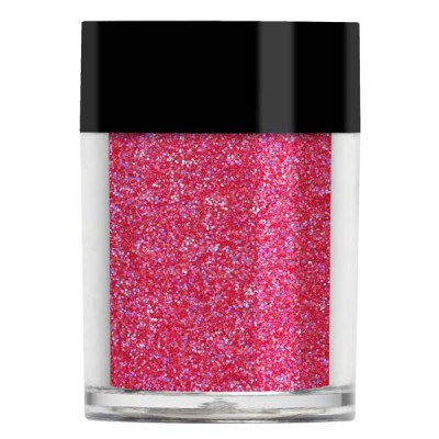 Nail art glitter in an iridescent strawberry pink colour.