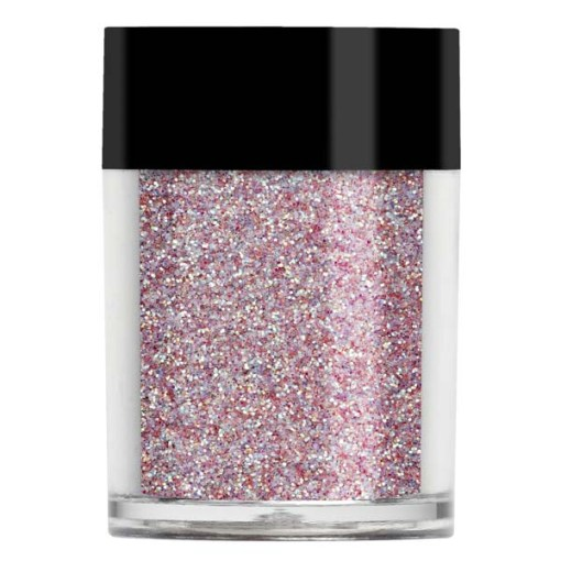 Nail art glitter in an iridescent pale, dusty pink with subtle lilac undertones.