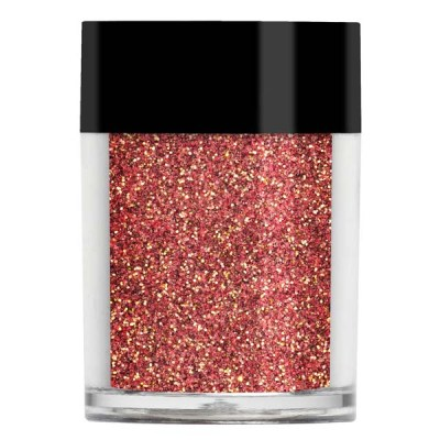 Nail art iridescent glitter in a burnt red colour with yellow undertones.