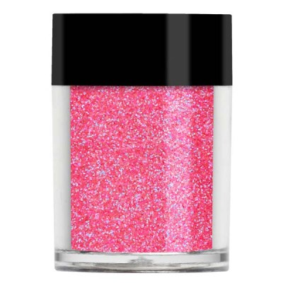 Nail art glitter in an iridescent vibrant, flourescent pink colour with blue undertones.