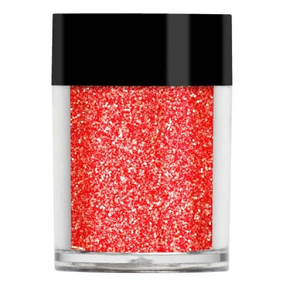 Nail art glitter in a orange red iridescent with golden undertones.