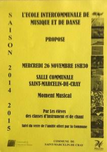 Moment musical à St Marcellin de Cray, le 26/11/2014