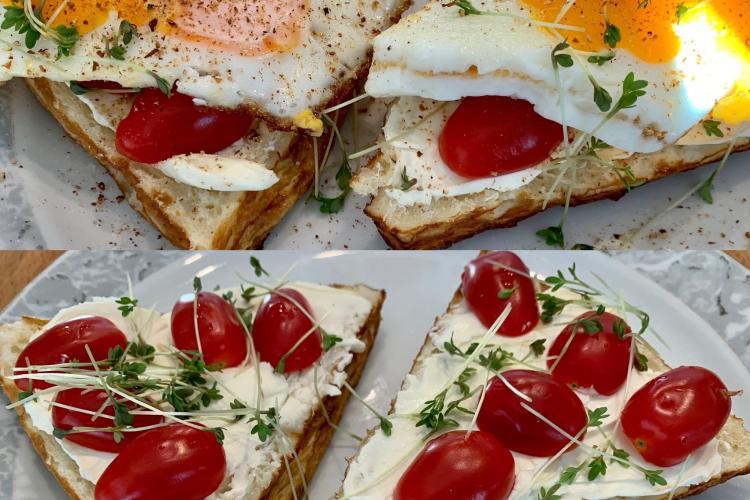 Laugenecke mit Frischkäse, Tomate, Spiegelei und Kresse