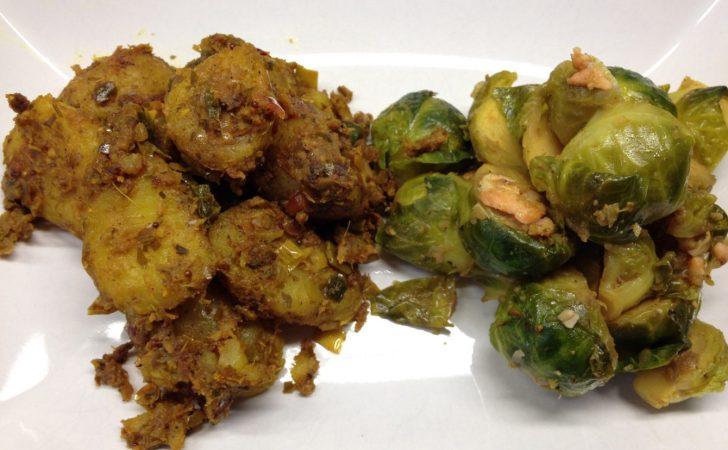 Rosenkohl mit Lachs und indischen Currykartoffeln
