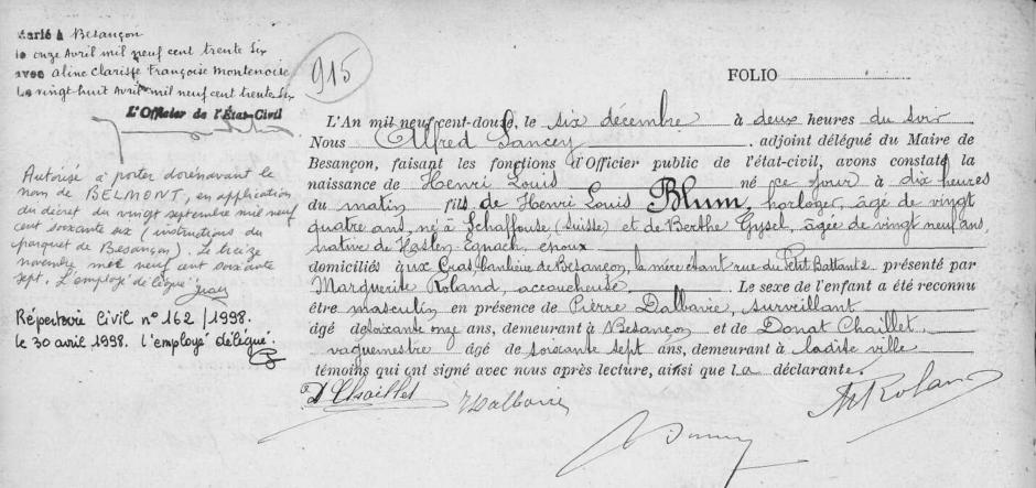 Acte de naissance de Henri Louis Blum. Registre des naissances de Besançon