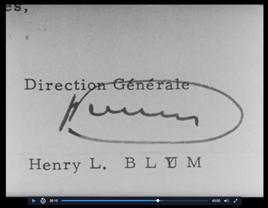 Signature Henry Louis Blum PDG YEMA 1968