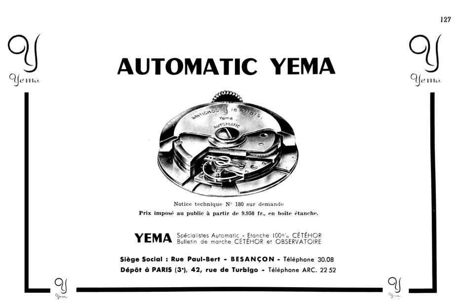 Publicité YEMA 1951 | Calibre 231 A in La France Horlogere - Septembre 1951. Crédit PJ Manfreo_01