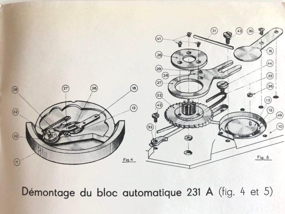 Déconstruction du calibre YEMA 231 A - 1951 - Crédit : Jerry