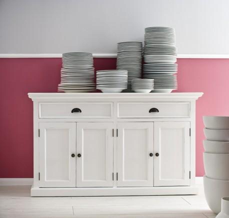 buffet commode bois blanc collection leirfjord 4 portes 2 tiroirs