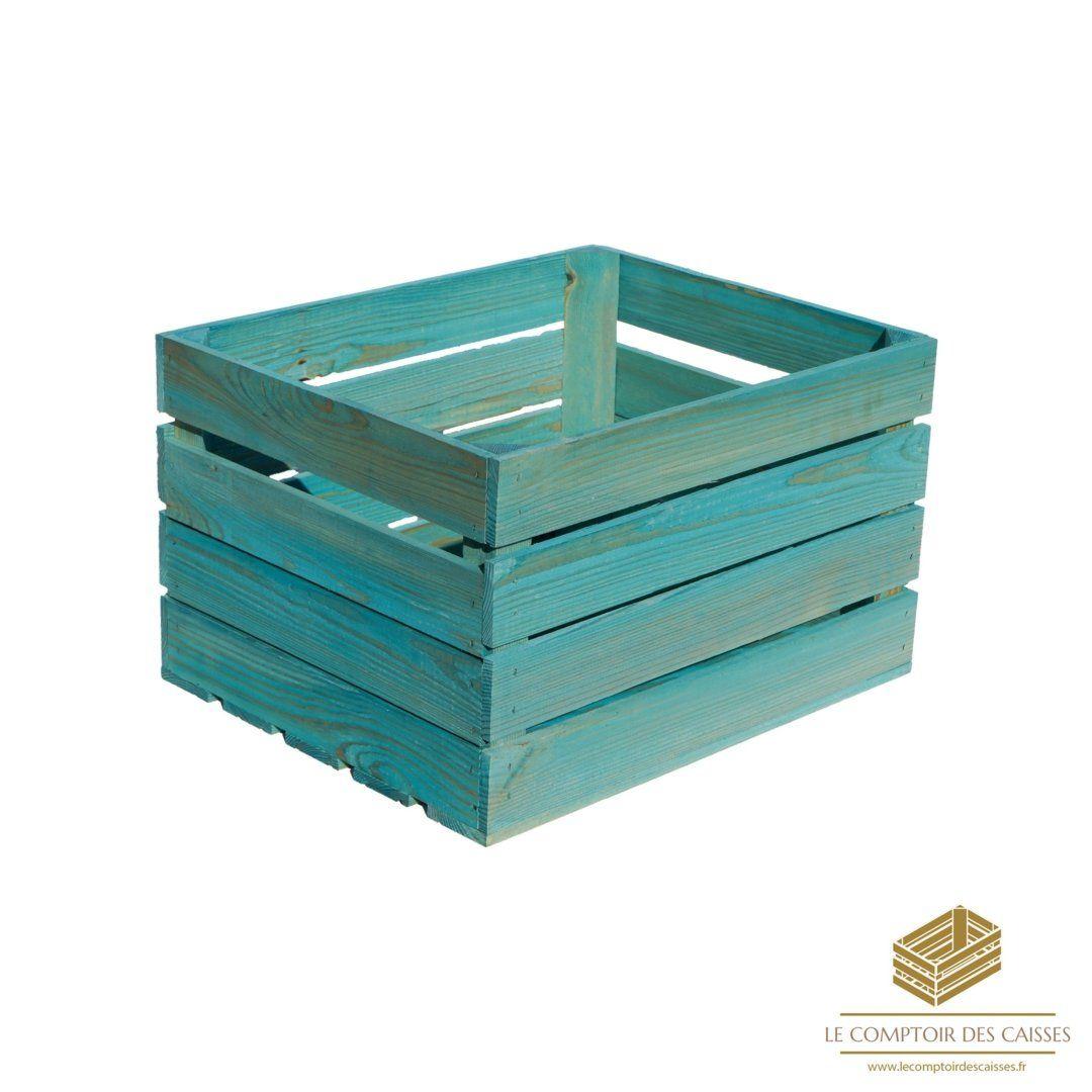 la caisse a pommes turquoise neuve
