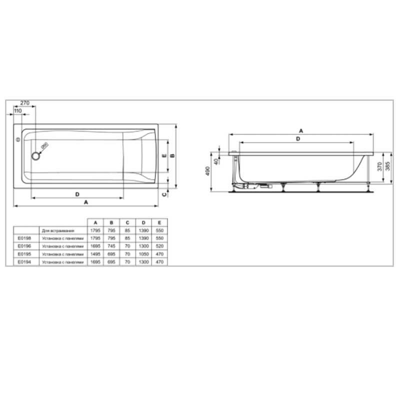 Baignoire 180 Cm X 80 Cm Vidage Centrale Acrylique Baignoire