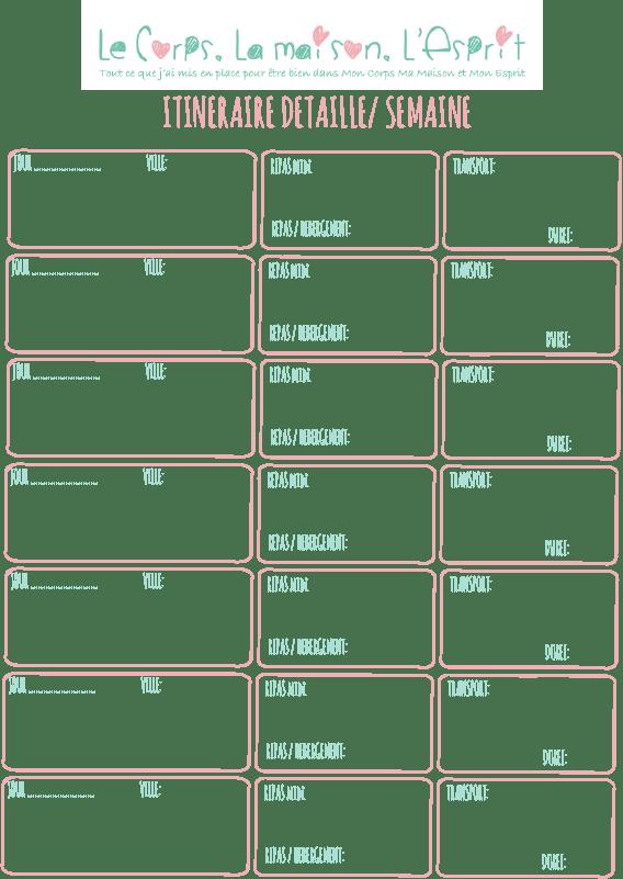 Mon model de feuille de route détaillé pour préparer ses vacances en avance ou sur place