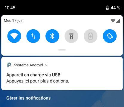 Android, PC, câble USB,
