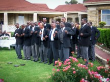 Banna le Bahlankana chorus singing at the king's palace in Matsieng in 2012