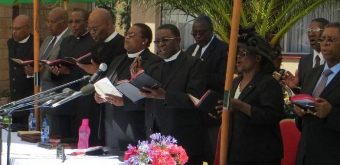 Executive Committee members leading worship