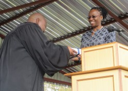 Dr. Phiri presents a gift to Rev. Masemene