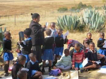 Outdoor class at Qiloane Primary School