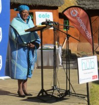 Mrs. Manthomeng Matete, wife of the Chief of Morija, gives words of welcome