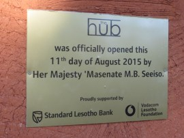 The Hub official opening plaque