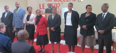 2nd Year Theological Students Mr. Mohatlane, Mr. Mokolokolo, Ms. Phallang, Mrs. Botsane, Ms. Phalatsi, Mrs. Makoetlane, and Mr. Mohonyane (with Mrs. Mohonyane)