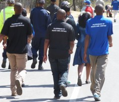 Walkers with Pilgrimage of Peace & Justice shirts