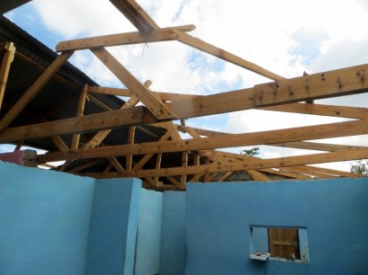 Damaged roof of pastor's house