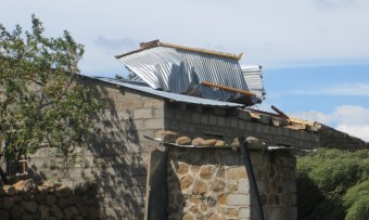 Roof damage on pastor's house