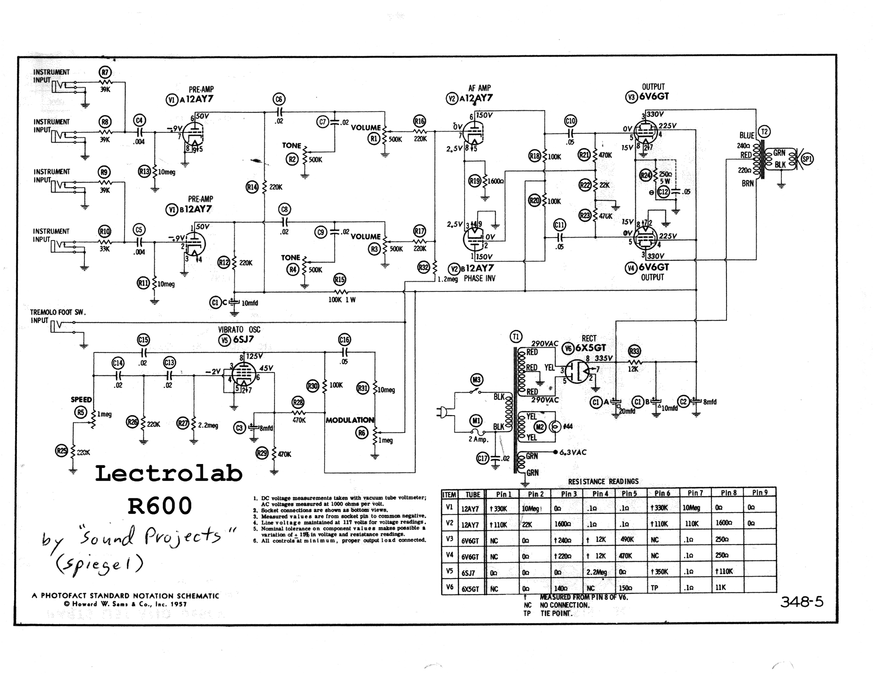 Lectrolab R600 Schematic