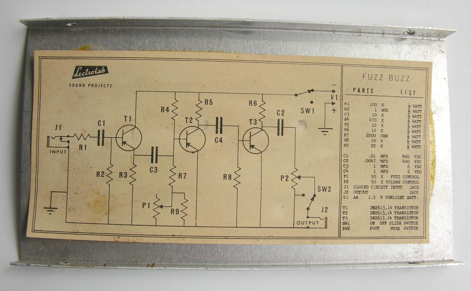 Vintage Fuzz Box Guitar Distortion Pedal Schematics