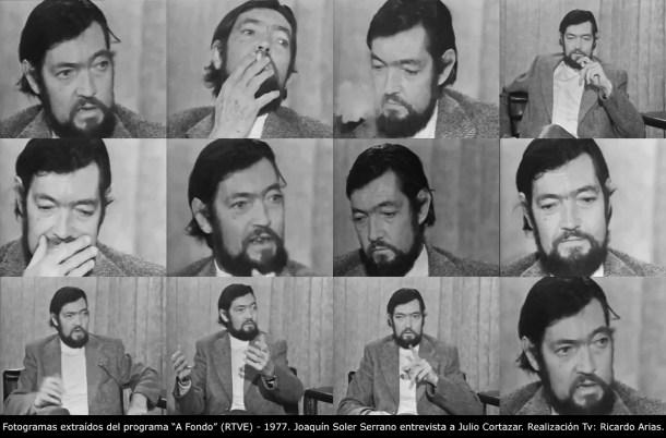 """Fotogramas extraídos del programa """"A Fondo"""" (RTVE) - 1977. Joaquín Soler Serrano entrevista a Julio Cortazar. Realización Tv: Ricardo Arias."""