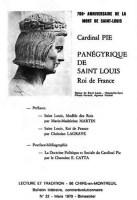 Il y a 50 ans dans Lecture et Tradition : 700e anniversaire de la mort de saint Louis