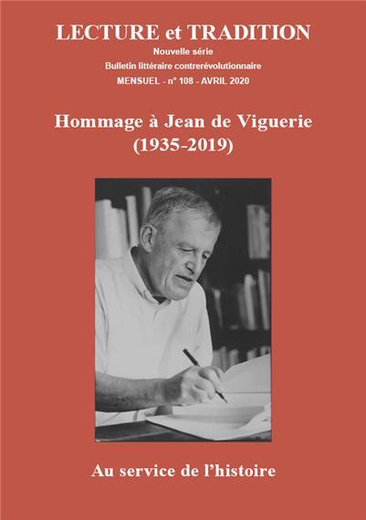 N° 108 (nouvelle série), avril 2020 : Hommage à Jean de Viguerie (1935-2019) - Au service de l'histoire