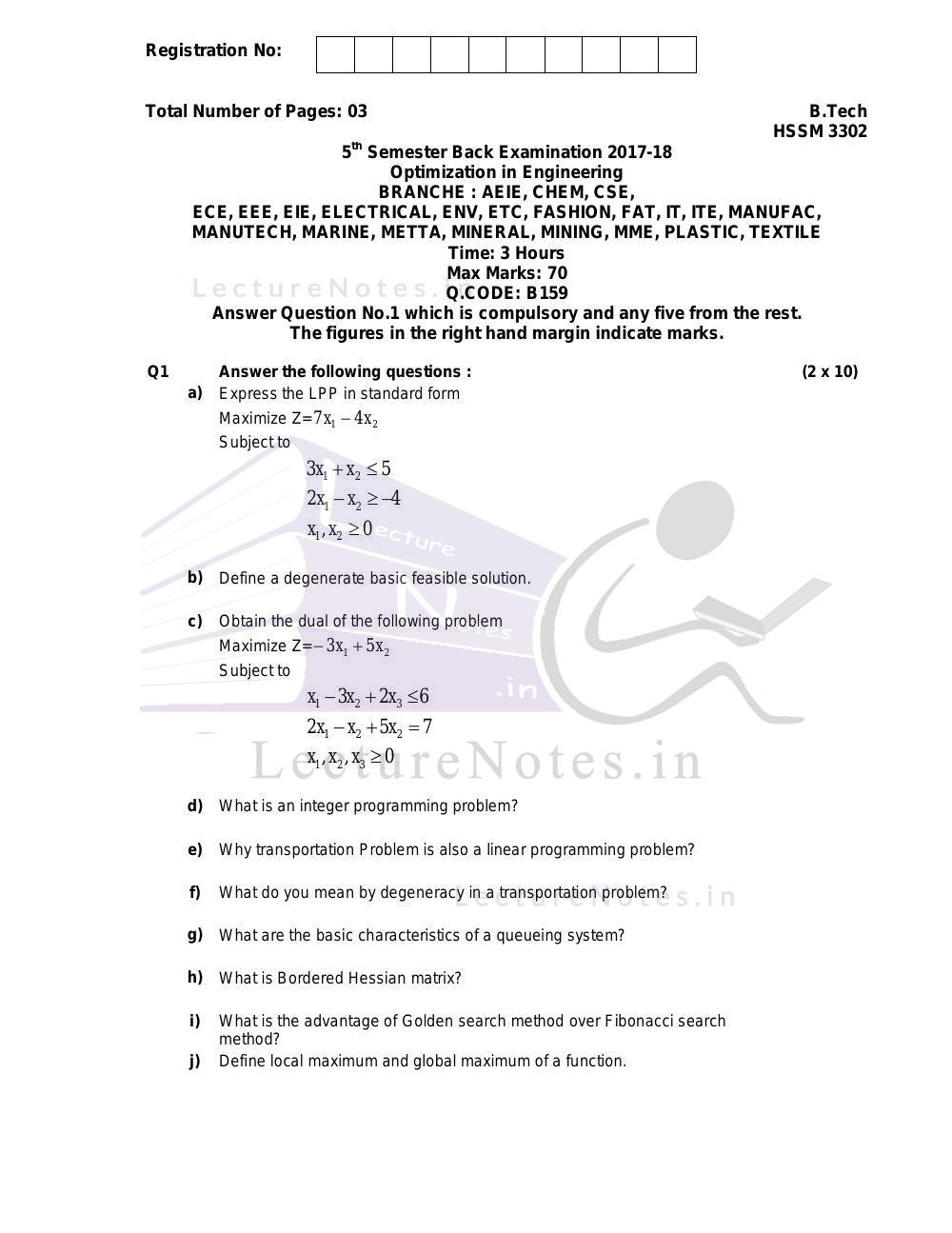 Previous Year Exam Questions of Optimization in