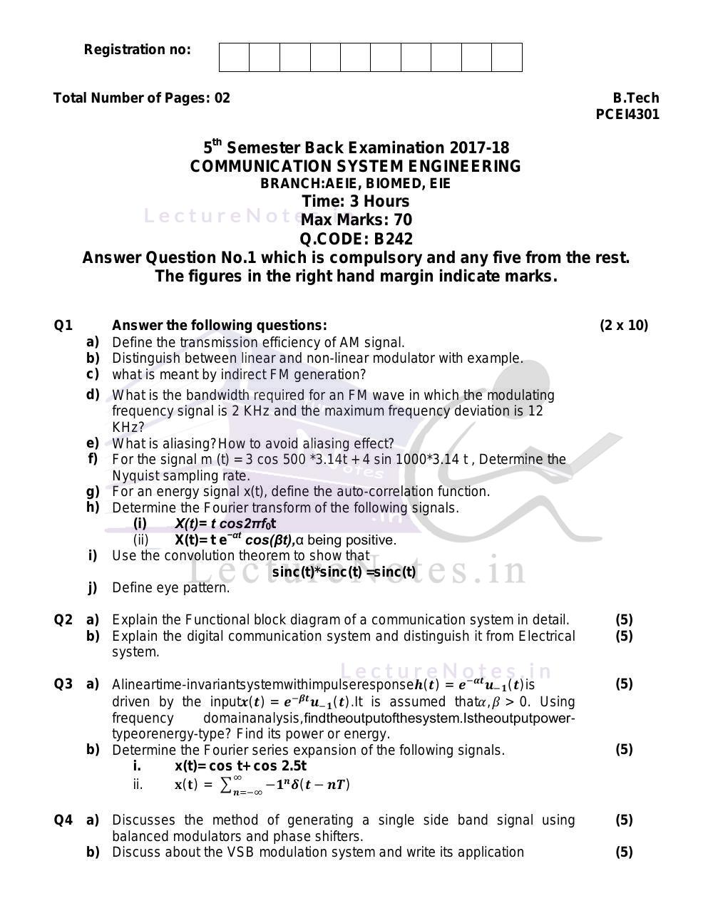 medium resolution of previous year exam questions of communication system engineering of bput cse by verified writer