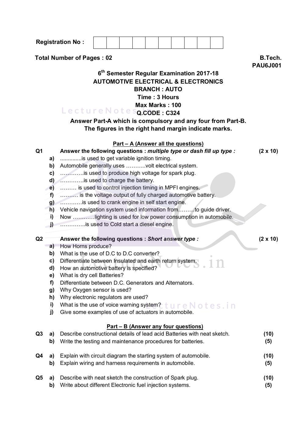 hight resolution of examination question of automotive electrical electronics bput 2018