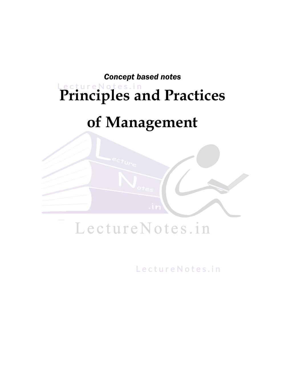 Principles and Practices of Management Note pdf download