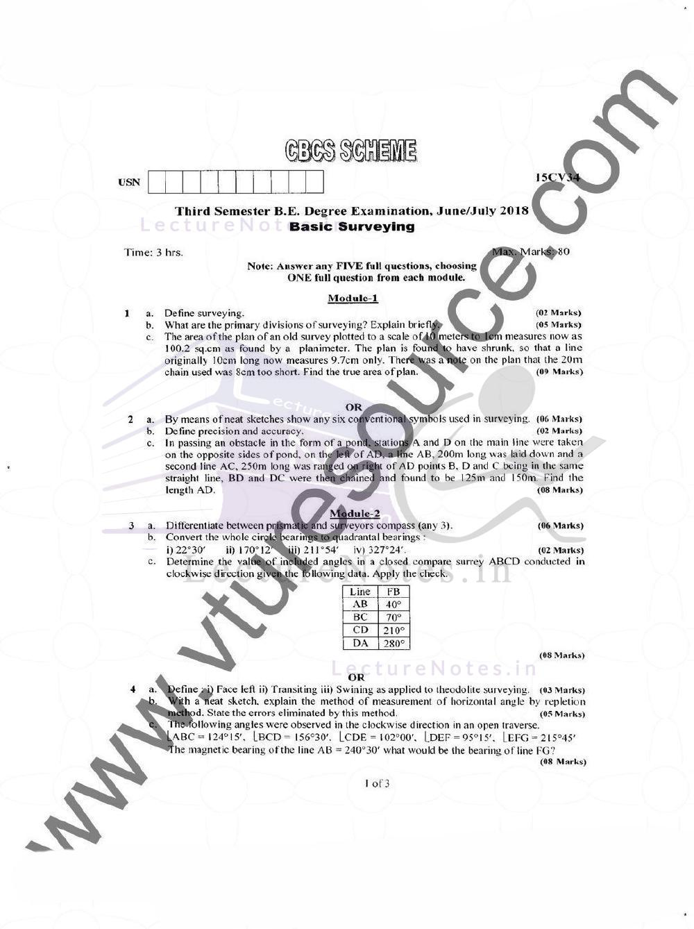 Basic Surveying Previous Year Question for VTU pdf