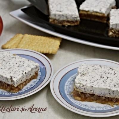 Prăjitură rapidă cu mere și cremă stracciatella (FĂRĂ coacere)