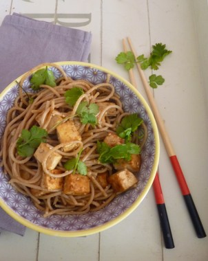 Spaghetti épeautre et tofu