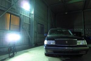 ガレージの投光器使用実例